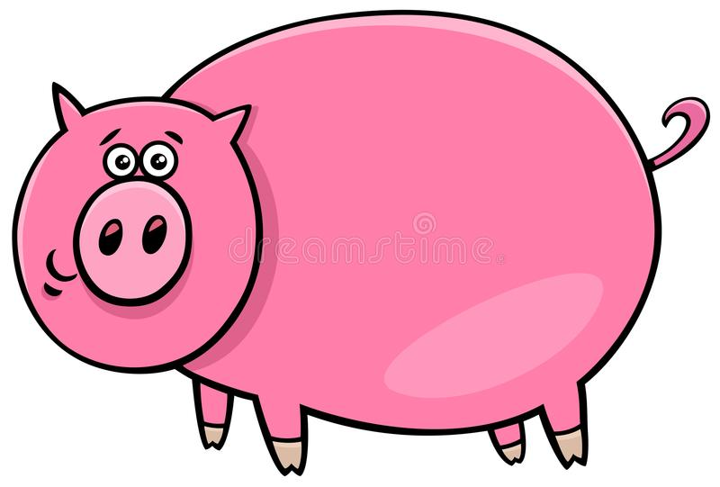 Ejemplo cómico divertido de la historieta del carácter del cerdo libre illustration
