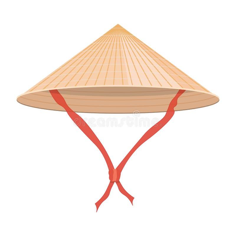 Ejemplo cónico chino del vector del sombrero de paja en el fondo blanco libre illustration
