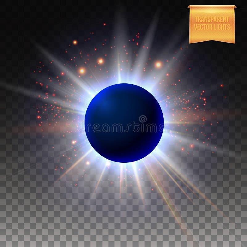 Ejemplo cósmico abstracto del vector del eclipse con las luces chispeantes de la estrella ilustración del vector
