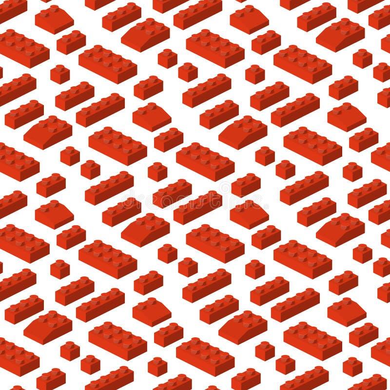 Ejemplo cúbico del constructor de los bloques 3d del modelo de la estructura preescolar inconsútil isométrica del fondo stock de ilustración