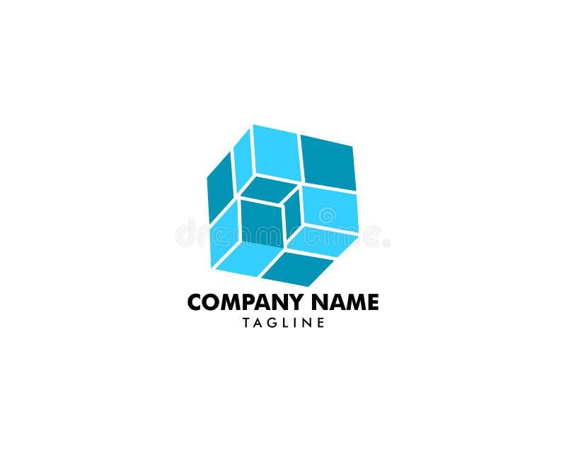 Ejemplo cúbico del vector de la plantilla del diseño del logotipo stock de ilustración