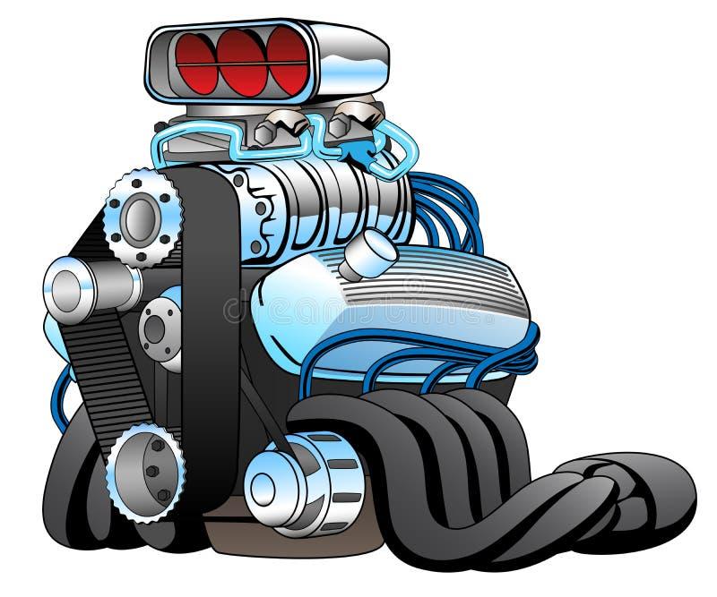 Ejemplo caliente del vector de Rod Race Car Engine Cartoon stock de ilustración