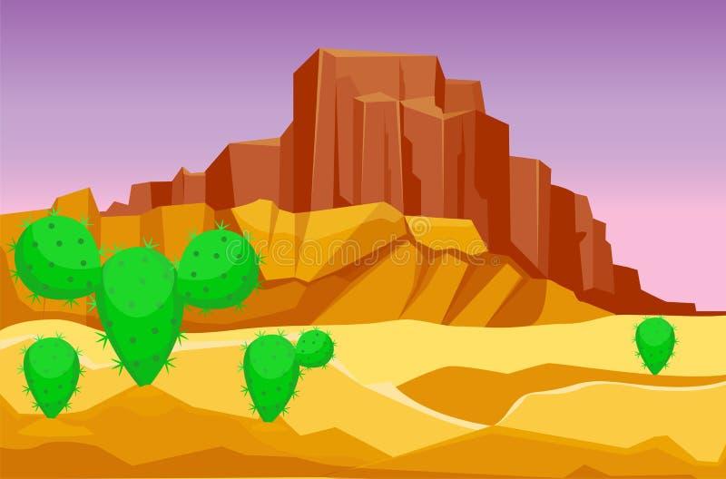 Ejemplo caliente del vector del viaje del paisaje de la duna del sol inferior seco del fondo del paisaje del desierto de la piedr ilustración del vector