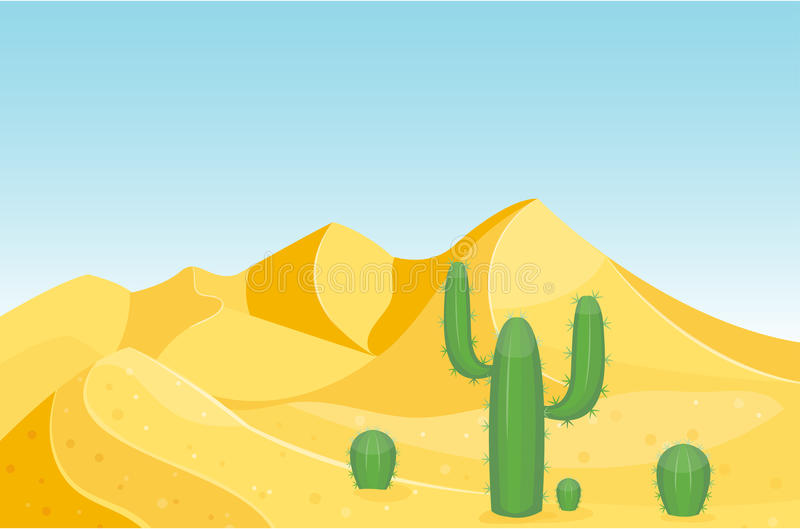 Ejemplo caliente del vector del viaje del paisaje de la duna del sol inferior seco del fondo del paisaje del desierto de la piedr stock de ilustración