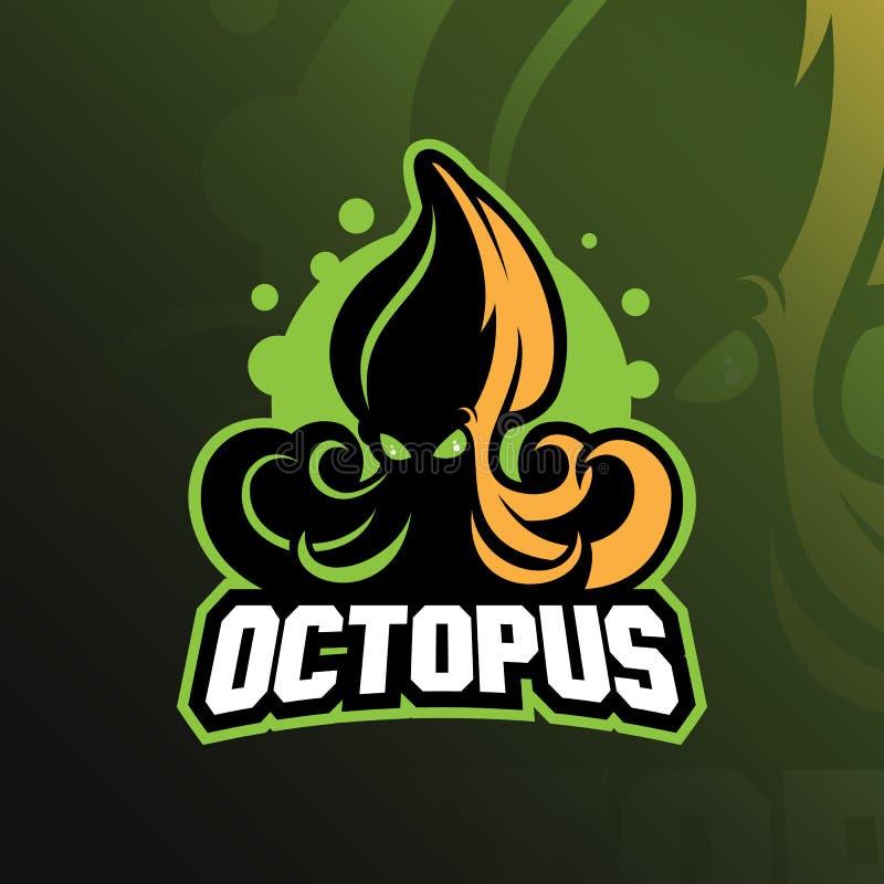 Ejemplo, camiseta y emblema del diseño del logotipo de la mascota del deporte del pulpo libre illustration