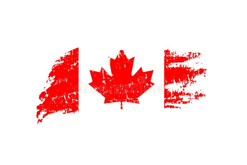 Ejemplo canadiense de la bandera del vintage Bandera del vector de Canadá en textura del grunge stock de ilustración
