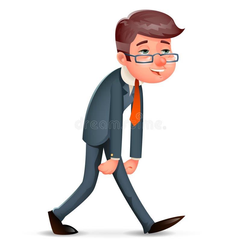 Ejemplo cansado cansado satisfecho feliz contento del vector del carácter de Walk Cartoon Design del hombre de negocios del cansa stock de ilustración