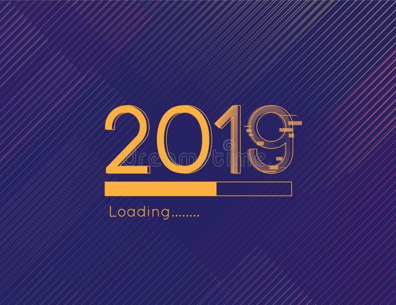 Ejemplo cargado pronto 2019 del progreso de la Feliz Año Nuevo con distraer el fondo de la oscuridad de la fuente y del oro stock de ilustración