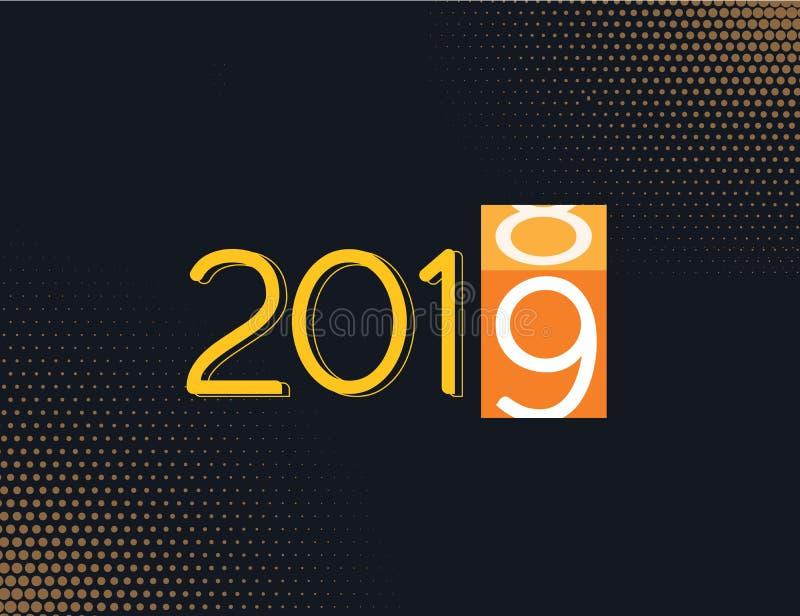 Ejemplo cargado pronto 2019 del vector del progreso de la Feliz Año Nuevo con distraer el fondo de la caja del cambio de la oscur libre illustration
