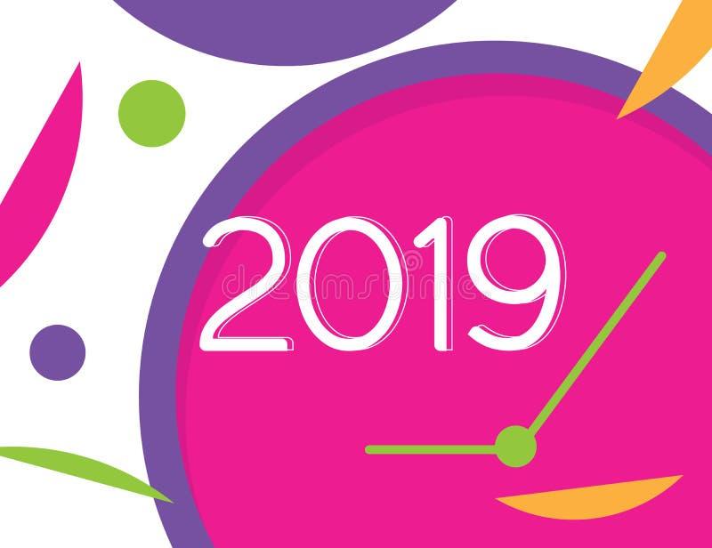 Ejemplo cargado pronto 2019 del vector del progreso de la Feliz Año Nuevo con el fondo colorido del reloj stock de ilustración