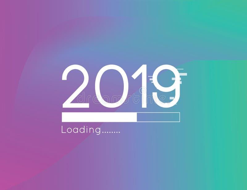 Ejemplo cargado pronto 2019 del vector del progreso de la Feliz Año Nuevo con la línea abstracta fondo colorido de la pendiente stock de ilustración