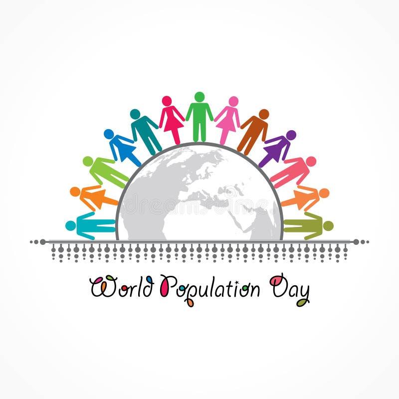Ejemplo, cartel o bandera para el día de la población de mundo libre illustration