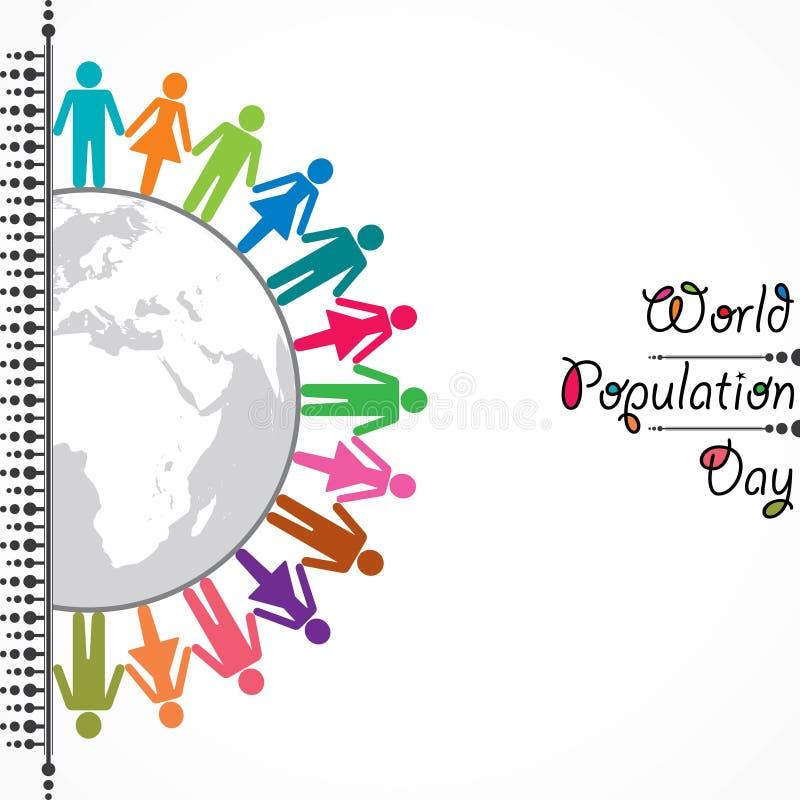 Ejemplo, cartel o bandera para el día de la población de mundo ilustración del vector