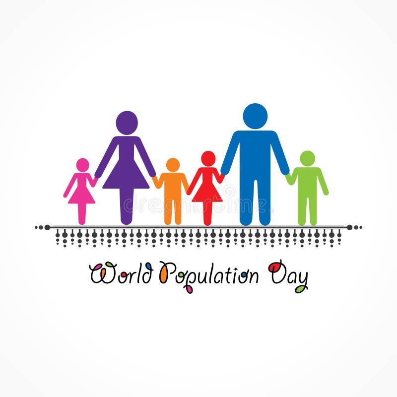 Ejemplo, cartel o bandera para el día de la población de mundo stock de ilustración