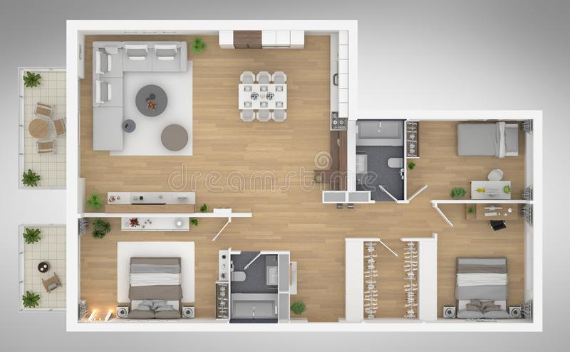 Ejemplo casero de la opinión superior 3D del plan de piso foto de archivo libre de regalías