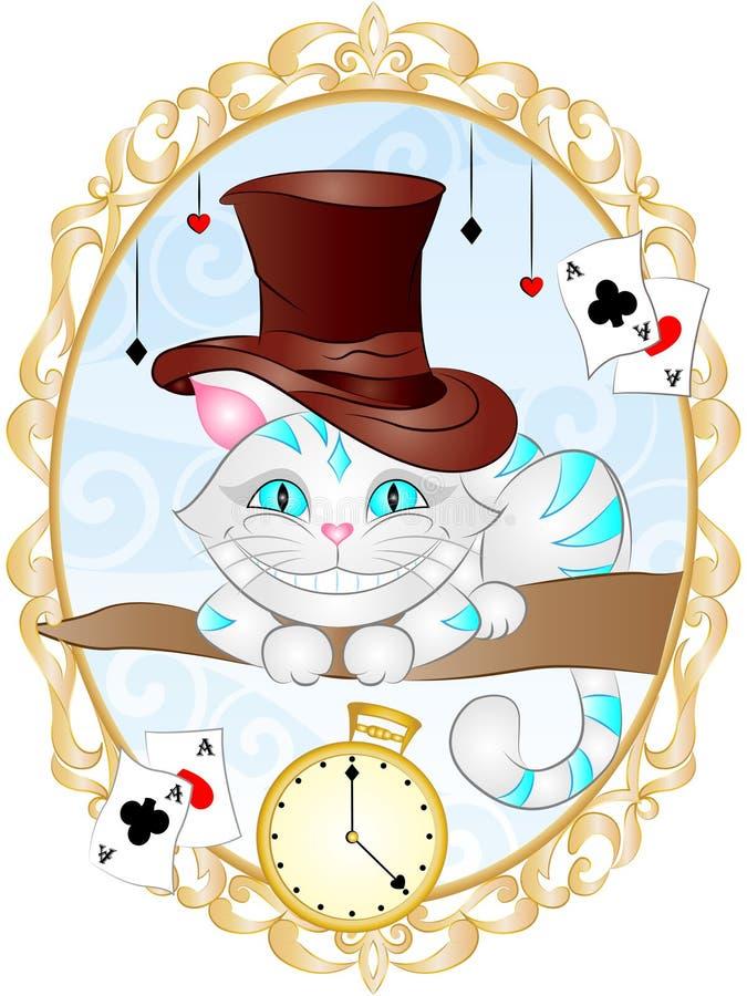 Ejemplo Cheshire Cat del vector del vintage ilustración del vector