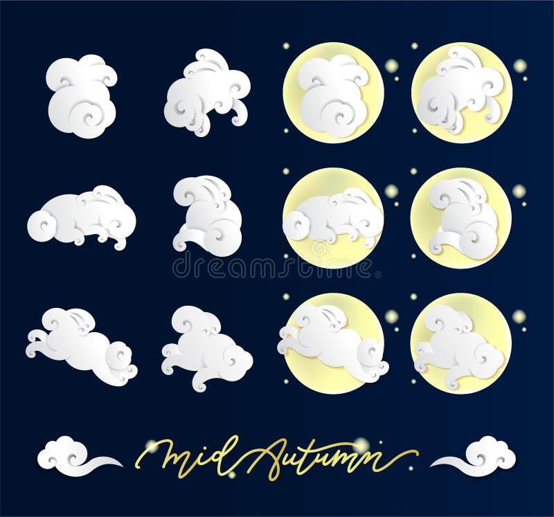 Ejemplo chino del vector de la nube Forma de las nubes del conejo stock de ilustración