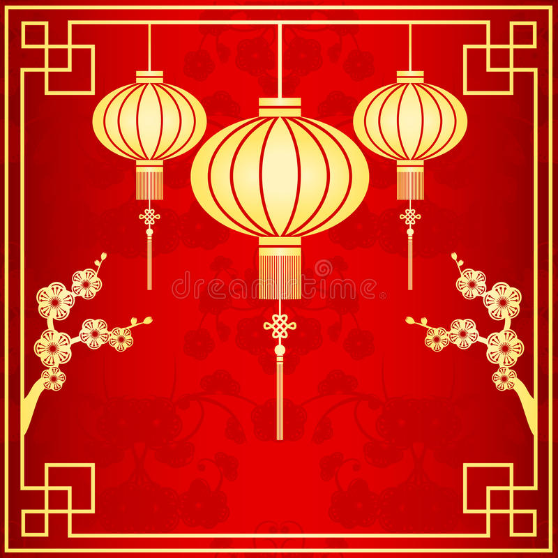 Ejemplo chino oriental de la linterna stock de ilustración