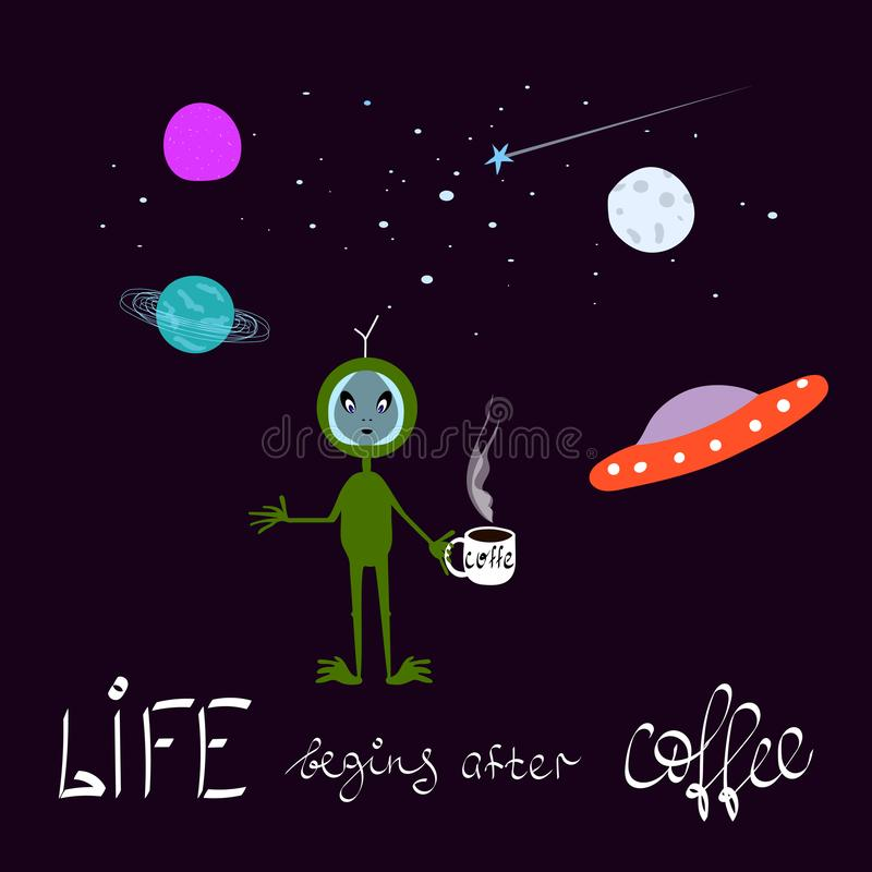 Ejemplo chistoso sobre el café Elemento extranjero de la tipografía del diseño gráfico del cosmos de la luna de la estrella del e ilustración del vector