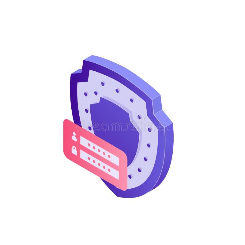 Ejemplo cibernético del concepto de la seguridad en el diseño 3d Escudo y datos seguros del contraseña y personales, identificaci libre illustration