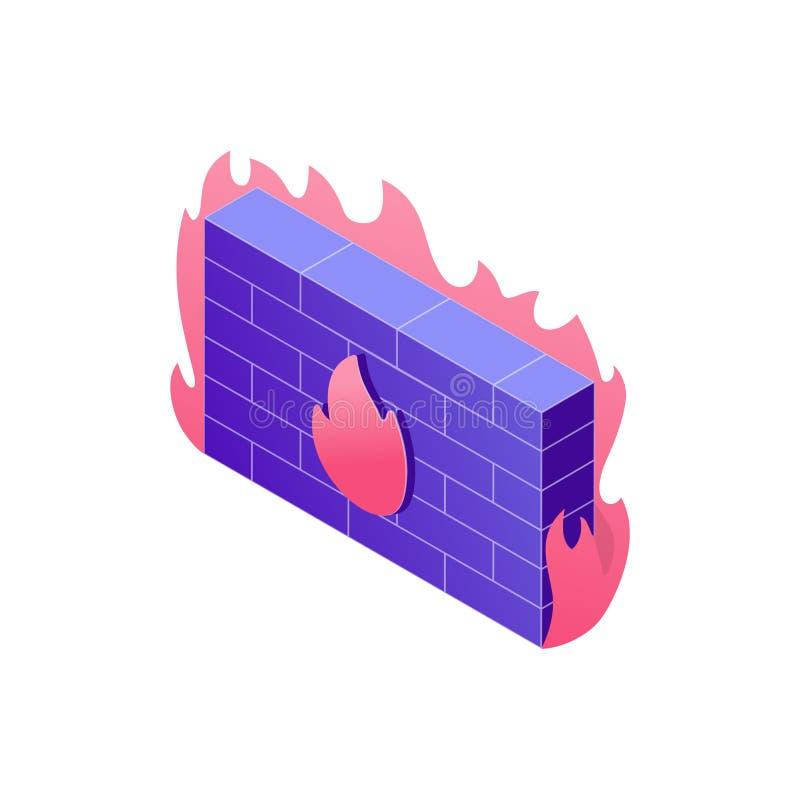 Ejemplo cibernético del concepto de la seguridad en el diseño 3d Ejemplo isométrico del diseño del cortafuego aislado en el fondo libre illustration