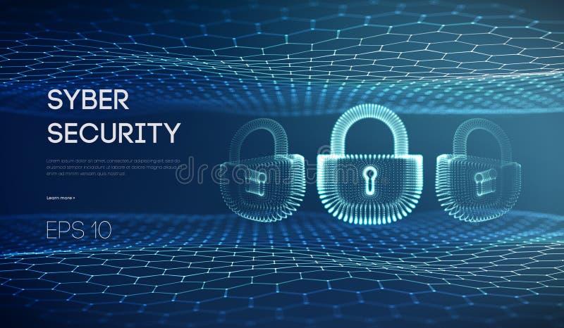 Ejemplo cibernético del vector de la seguridad de la cerradura Protección y él de información concepto de la seguridad Privacidad stock de ilustración