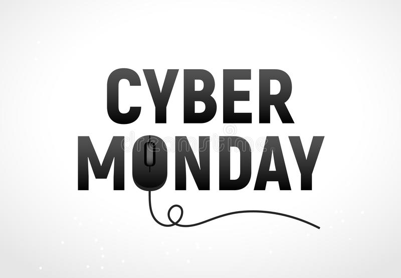 Ejemplo cibernético del vector de la venta de lunes Advertisign cibernético de lunes con el ratón Diseño en línea del backgrund d libre illustration
