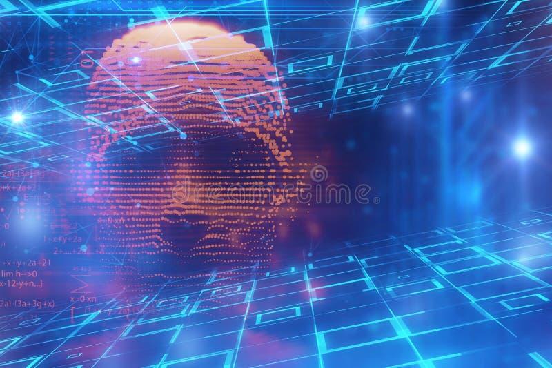 Ejemplo cibernético digital azul del pirata informático 3d ilustración del vector