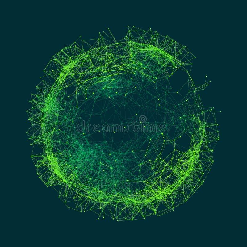 Ejemplo científico con las líneas y los puntos conectados Formas microscópicas luminosas Rejilla que brilla intensamente Estructu ilustración del vector
