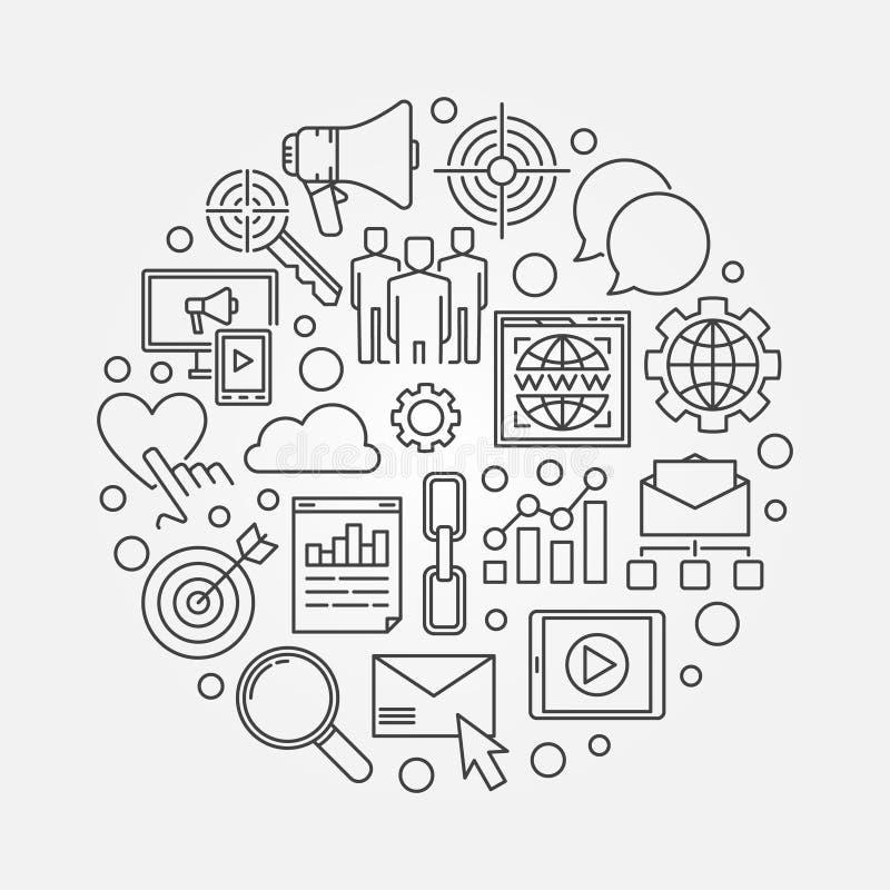 Ejemplo circular de comercialización del concepto ilustración del vector