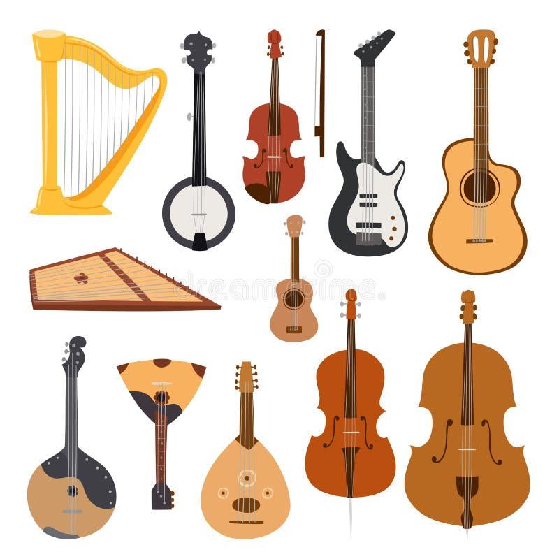 Ejemplo clásico atado del vector del equipo de la herramienta de la orquesta de los instrumentos musicales aislado en blanco libre illustration