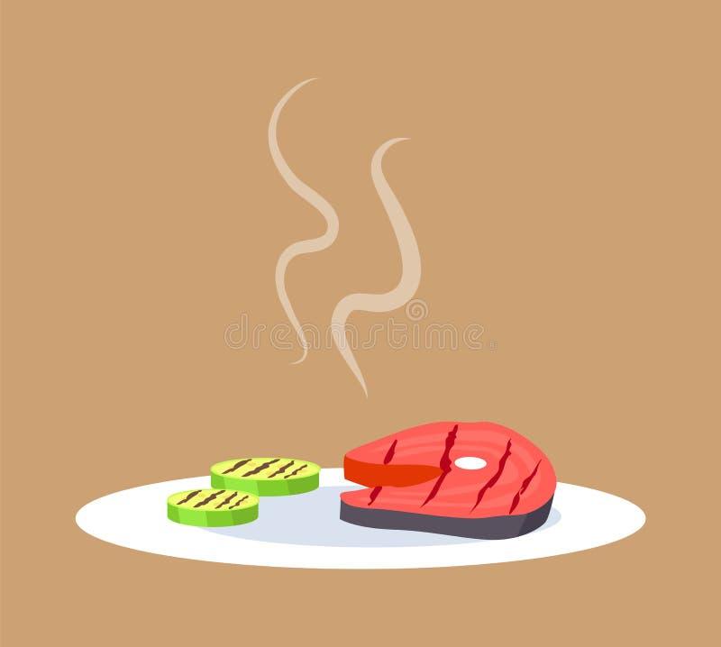 Ejemplo cocinado del vector del filete y de las verduras libre illustration