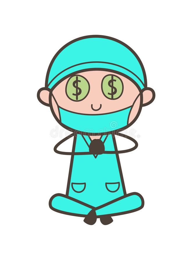 Ejemplo codicioso de Money-Mouth Face Vector del dentista de la historieta stock de ilustración
