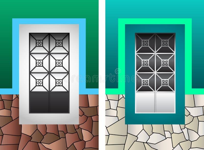 Ejemplo colonial rústico del vector de la ventana stock de ilustración
