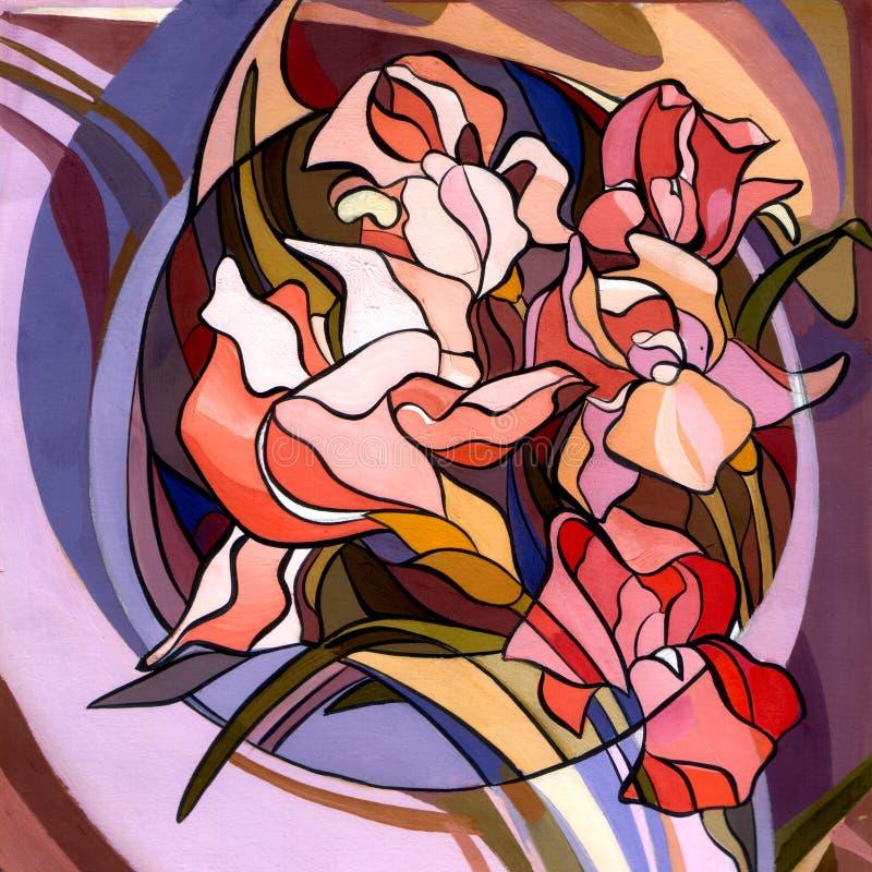 Ejemplo coloreado de flores en el estilo de Art Nouveau, moderno stock de ilustración