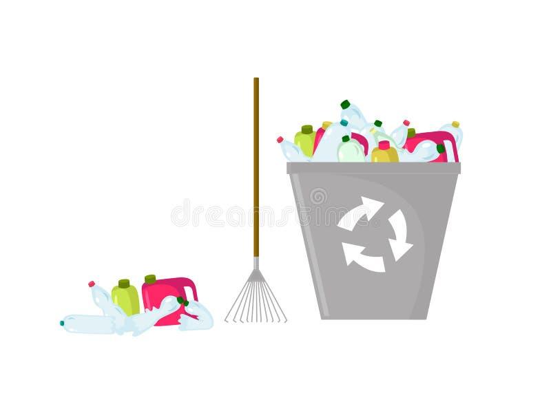 Ejemplo coloreado de la basura, del rastrillo y del bote de basura plásticos para reciclar ilustración del vector