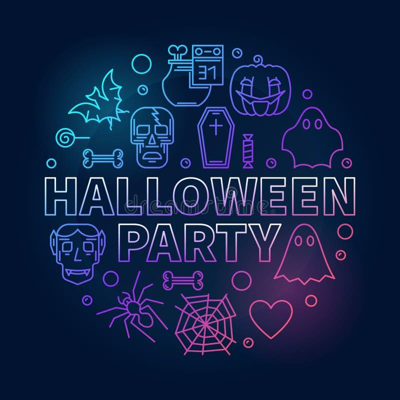 Ejemplo coloreado redondo del vector del esquema del partido de Halloween ilustración del vector