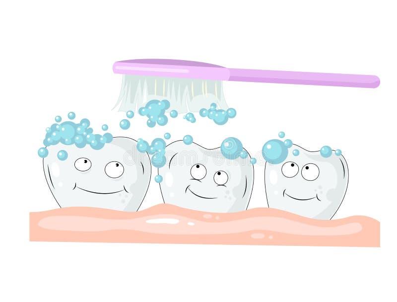 Ejemplo coloreado sobre salud y cuidado del diente Limpieza dentada blanca con crema dental y el cepillo de dientes rosado libre illustration