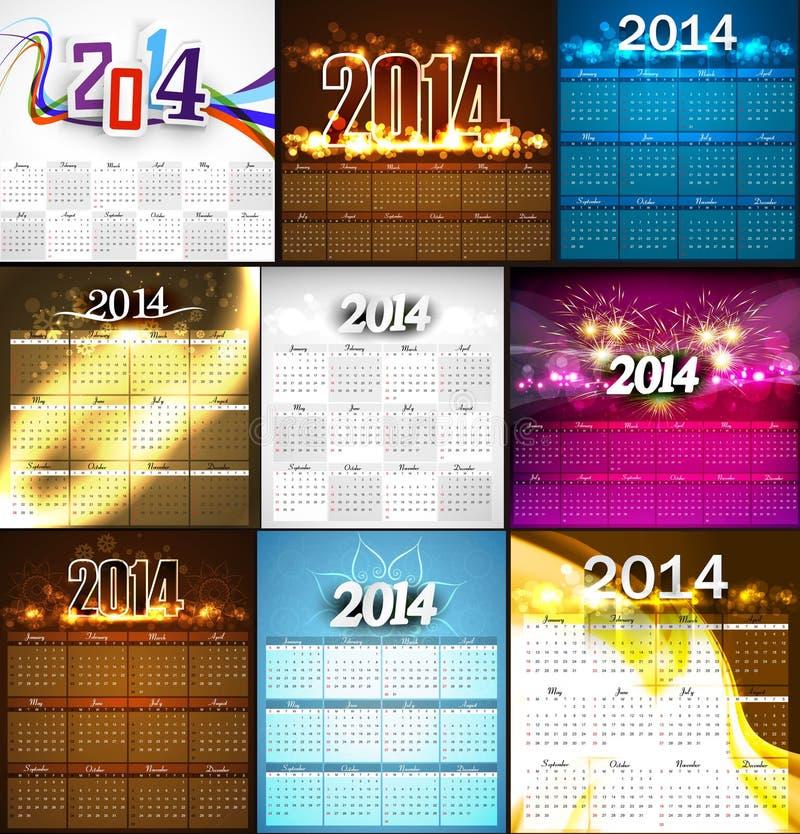 Ejemplo colorido brillante del diseño de la colección de 2014 calendarios ilustración del vector