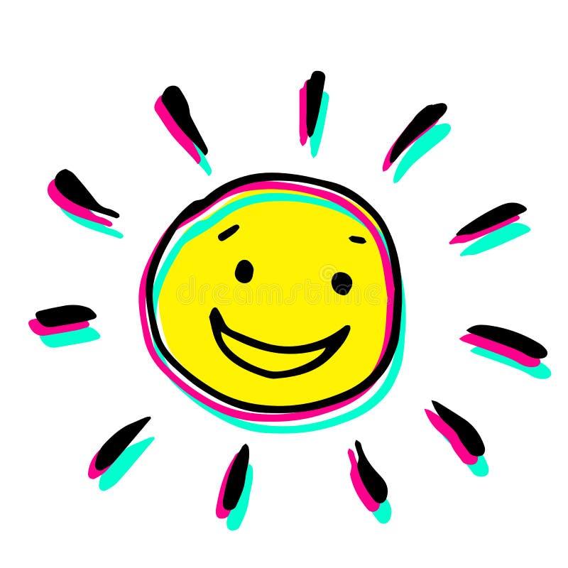 Ejemplo colorido creativo del vector de un sol que sonríe foto de archivo