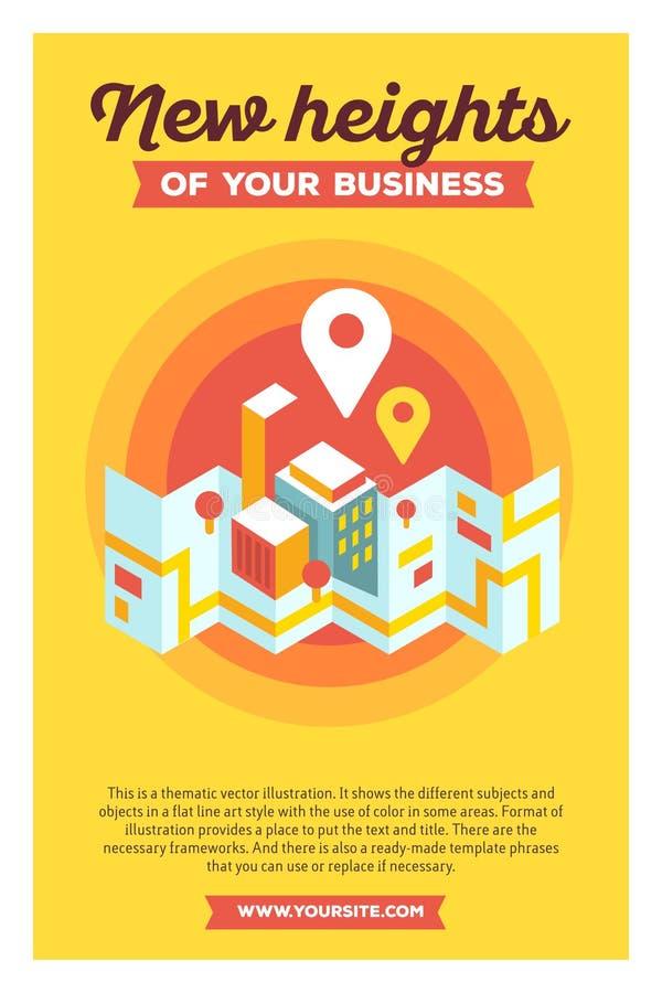Ejemplo colorido creativo del vector del mapa y del geo modernos de la ciudad ilustración del vector