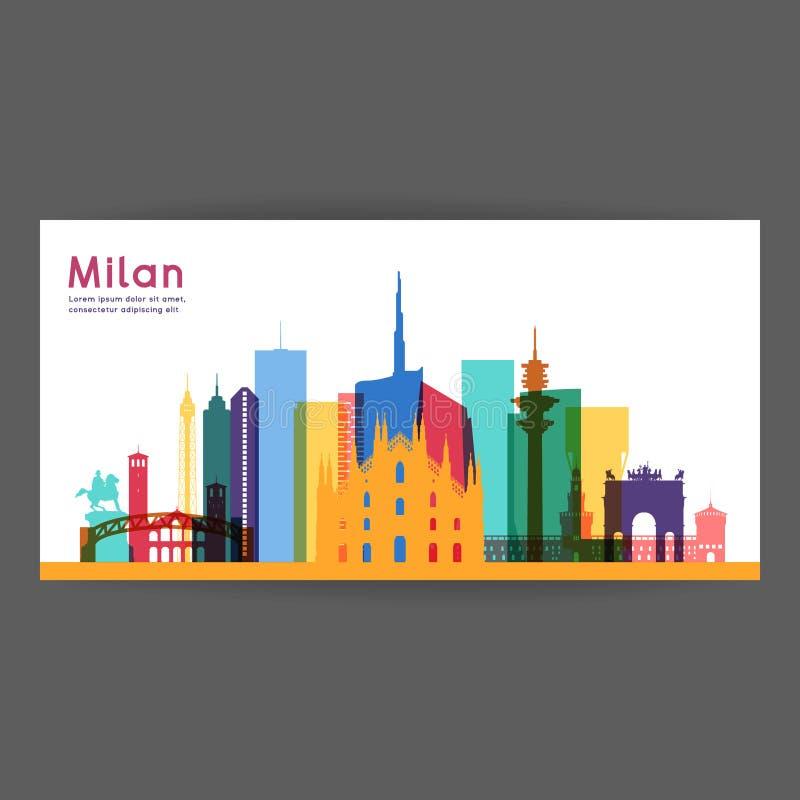Ejemplo colorido de la arquitectura de Milán stock de ilustración