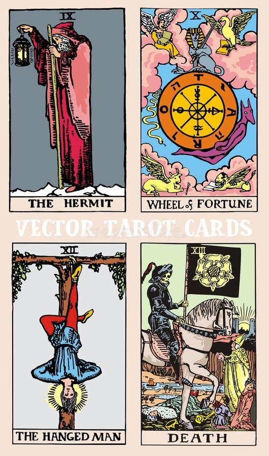 Ejemplo colorido de la baraja de cartas de tarot con los detalles gráficos mágicos y místicos ilustración del vector