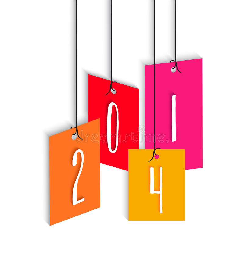Ejemplo colorido de la etiqueta de la Feliz Año Nuevo 2014 ilustración del vector