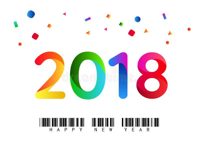 Ejemplo colorido de la Feliz Año Nuevo 2018 fotos de archivo libres de regalías