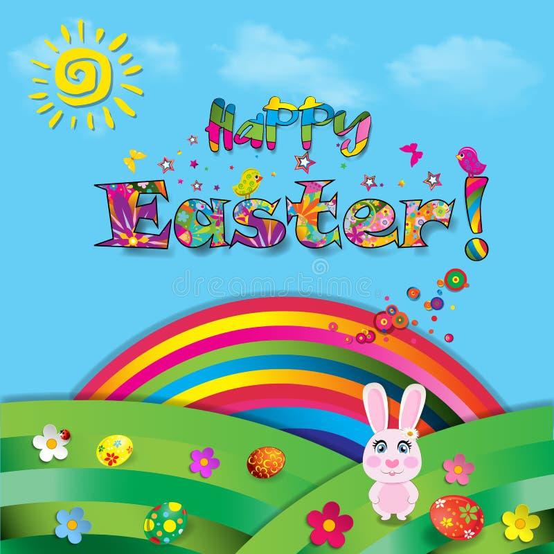 Ejemplo colorido de la historieta feliz de Pascua del conejo lindo en el sol stock de ilustración