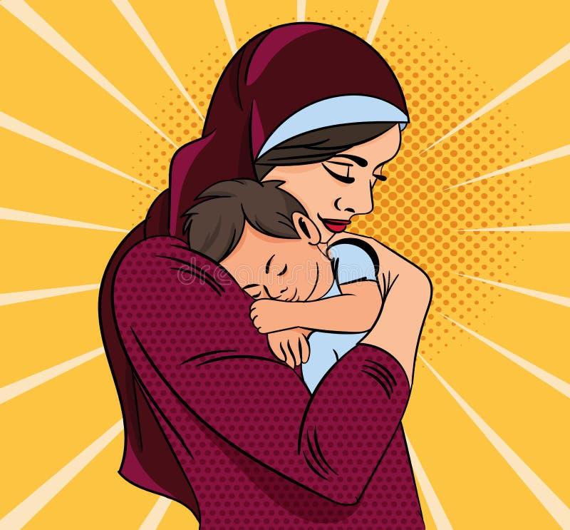 Ejemplo colorido de la madre en la bufanda principal roja que abraza a su niño joven sobre fondo amarillo y blanco libre illustration