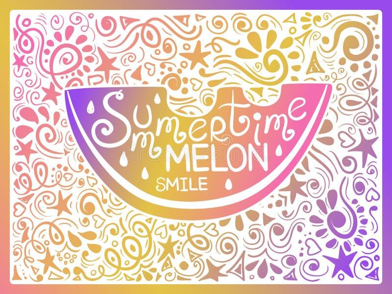 Ejemplo colorido de la sandía y de las letras dibujadas mano stock de ilustración