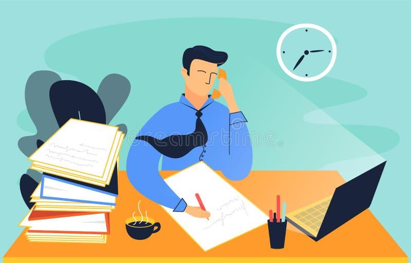 Ejemplo colorido de un hombre, que trabaja en la oficina libre illustration
