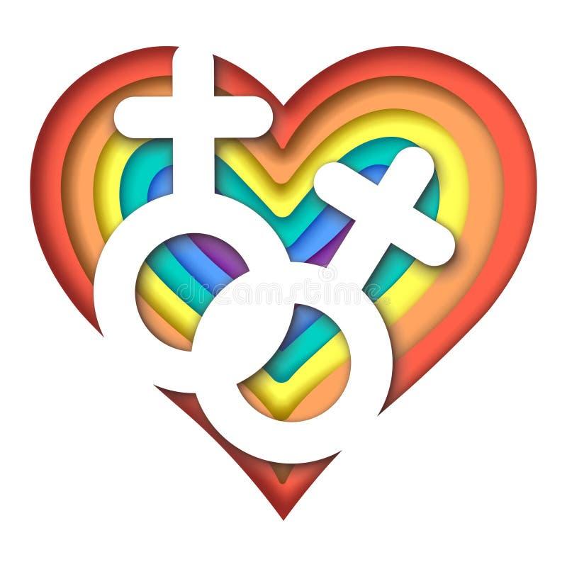 Ejemplo colorido del amor de LGBT ilustración del vector